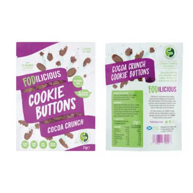 Fodilicious Cookie Buttons Cocoa front & back